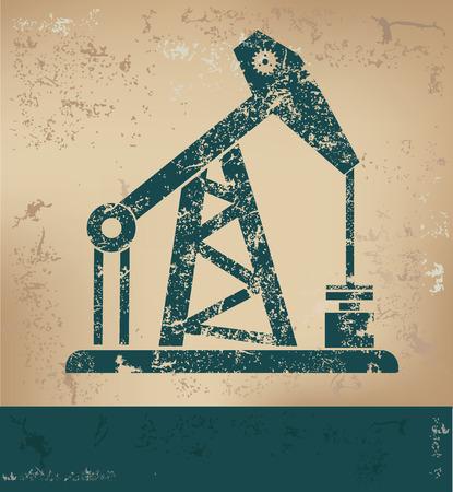 nuclear vector: Oil industry design on old paper background,grunge concept,vector Illustration