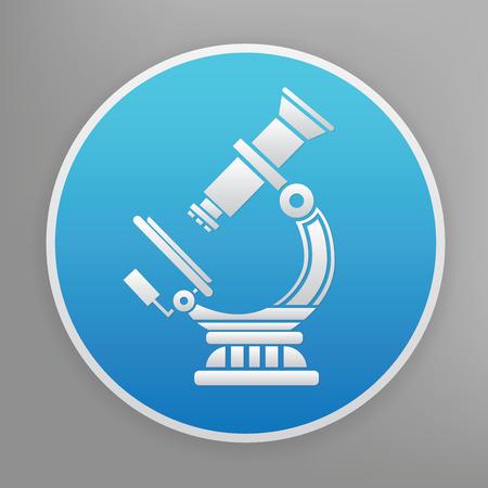 microscopio: Microscopio icono del diseño en el botón azul, limpio vector