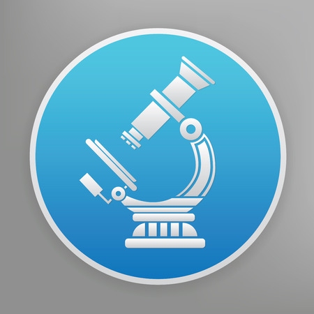 Microscope design icon on blue button,clean vector