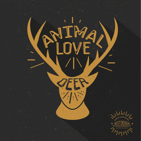 black tail deer: Deer design retro concept grunge design on old background clean vector Illustration