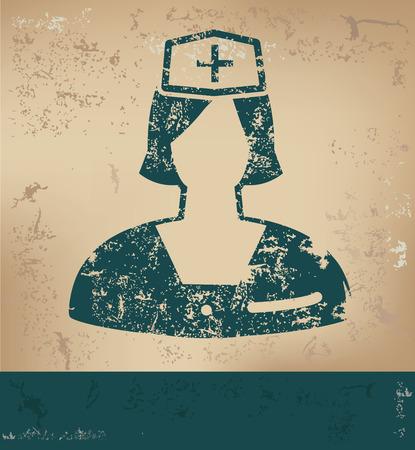caricatura enfermera: Diseño de la enfermera en el fondo de papel viejo, el concepto del grunge, el vector
