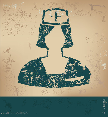 healthy woman white background: Nurse design on old paper background,grunge concept,vector