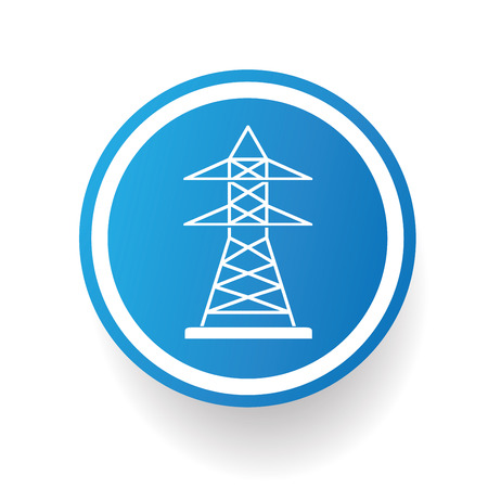 amperage: Electricity icon design on blue buttonwhite backgroundclean vector Illustration