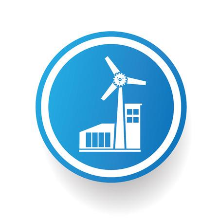 windfarm: Wind turbine icon design on blue buttonwhite backgroundclean vector