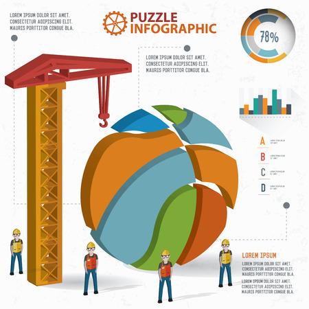 three dimension: Basketball puzzle info graphic design,three dimension,clean vector
