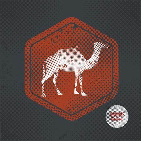 borden: Camel,stamp design on old dark background,grunge concept,vector