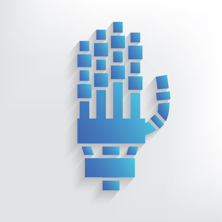 robot hand: Robot hand symbol design,clean vector Illustration