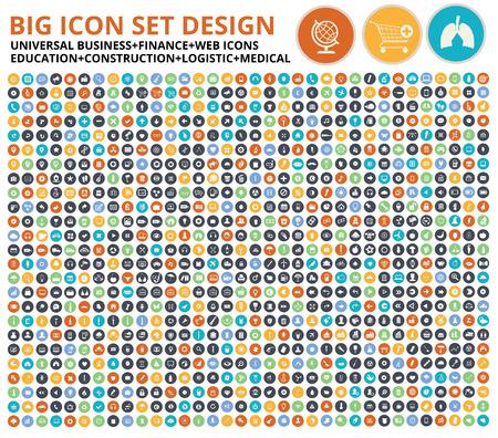 Grande conjunto de ícones, símbolo do site, construção, indústria, ecologia, médica, saudável comida conjunto de ícones, limpeza vector