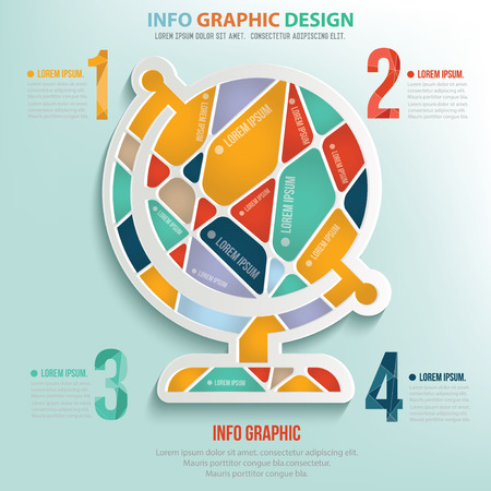Global puzzle info graphic design,clean vector