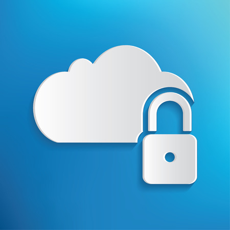 Cloud lock symbol on blue background,clean vector