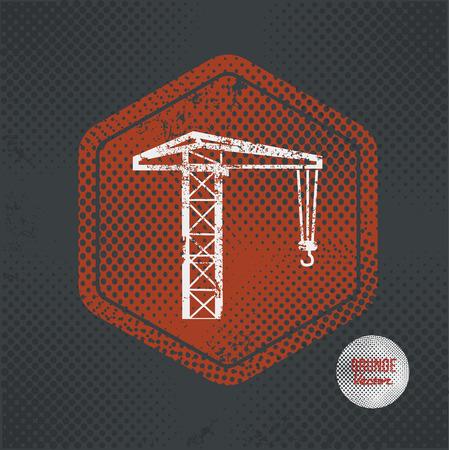 hoist: Construction,stamp design on old dark background,grunge concept,vector