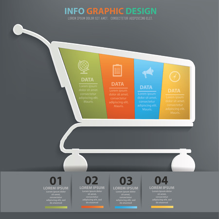 clean: Shopping cart info graphic design, Data concept design. Clean vector.