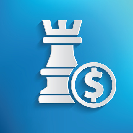 overthrow: Chess symbol on blue background,clean vector
