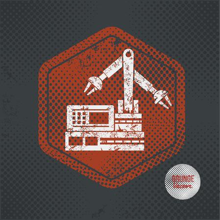 habiliment: Machine,stamp design on old dark background,grunge concept,vector