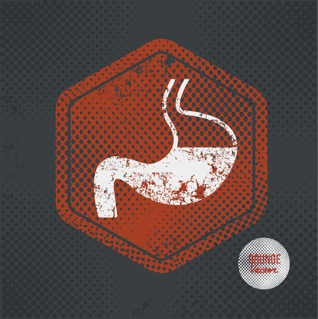 sphincter: Stomach,stamp design on old dark background,grunge concept,vector