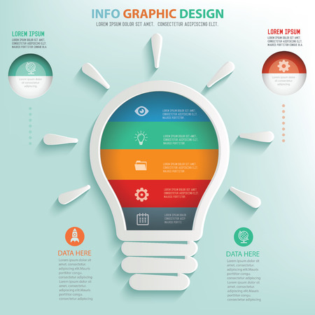 flash light: Light bulb design info graphic design Illustration