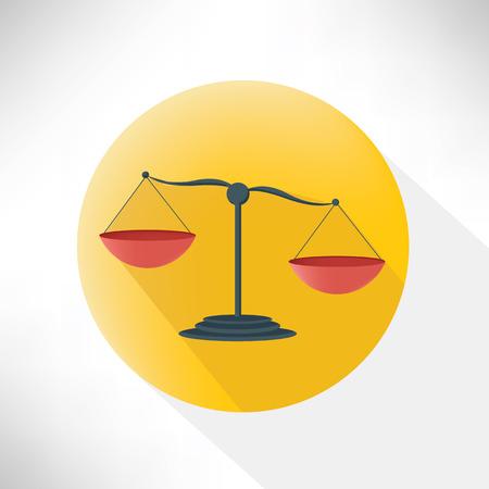 scale of justice: Justice scale symbol design, flat button