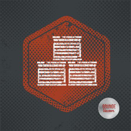 dockyard: Container, stamp design on old dark background Illustration