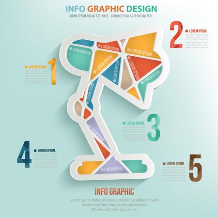 flexible business: Lamp puzzle info graphic design Illustration