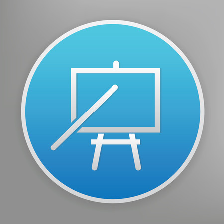 Tutorial design icon on blue button