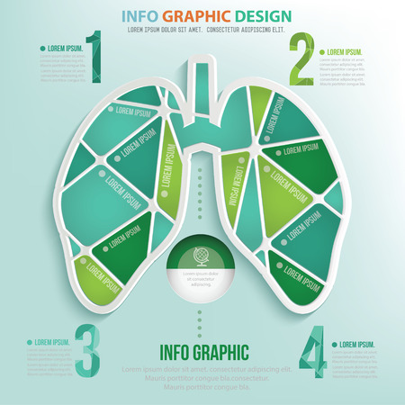 bronchial: Lung puzzle info graphic design,clean vector Illustration