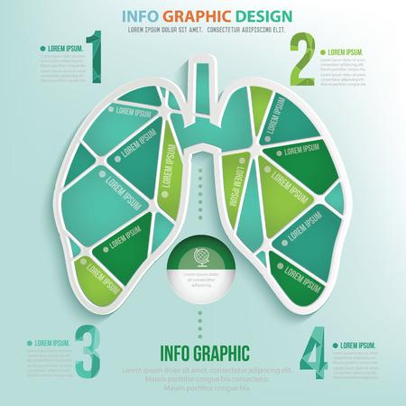 respire: Lung puzzle info graphic design,clean vector Illustration
