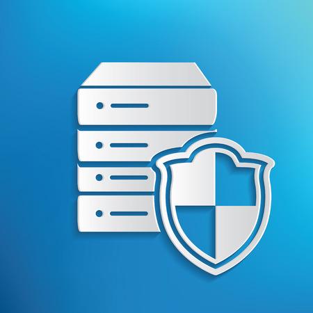 db: Database security symbol on blue background,clean vector Illustration