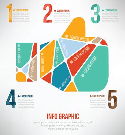 tumb: Good hand puzzle info graphic design,clean vector Illustration