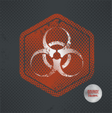 biological waste: Bio hazard,stamp design on old dark background,grunge concept,vector