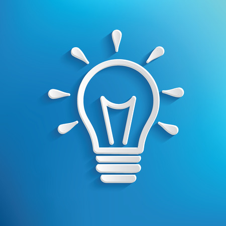 light blue: Light bulb design on blue background,clean vector Illustration