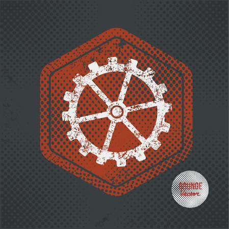 engineering icon: Gear,stamp design on old dark background,grunge concept,vector