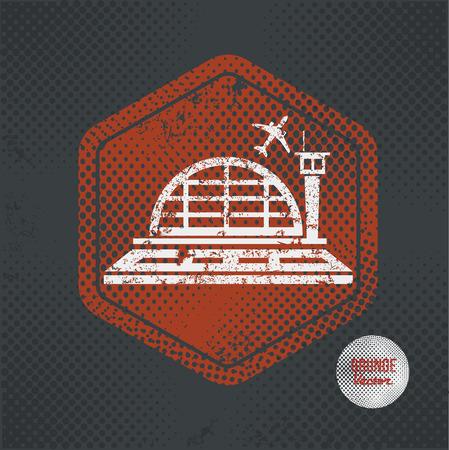 urban planning: Airport,stamp design on old dark background,grunge concept,vector