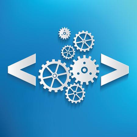 icono computadora: Codificaci�n s�mbolo sobre fondo azul, limpio vector