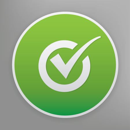 proceed: Checking design icon on green button. Illustration