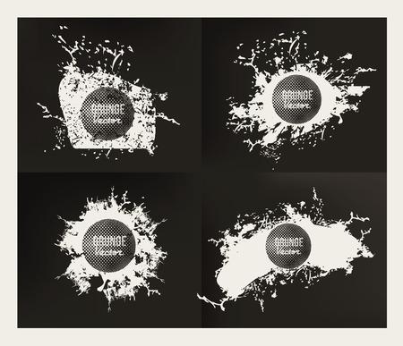 vector sample: Grunge splash banner set design on dark paper background,clean vector Illustration