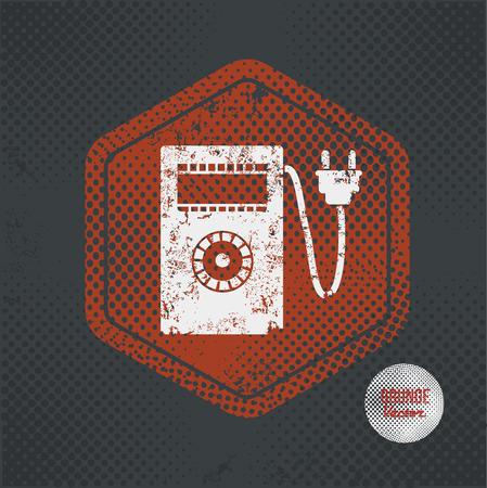 metrology: Electricity meter,stamp design on old dark background,grunge concept,vector