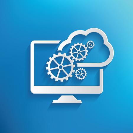 Cloud computing design on blue background,clean vector