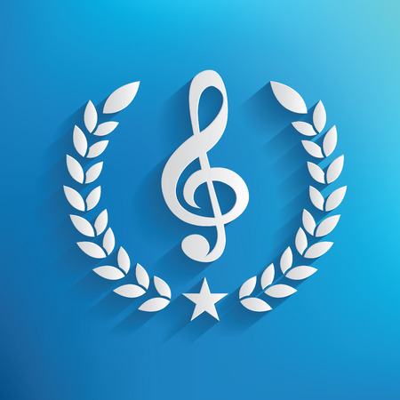 festival scales: Song badge on blue background,clean vector Illustration