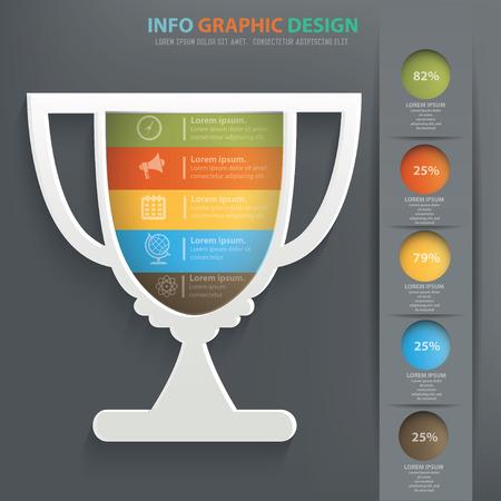Trophy info graphic design, Data concept design. Clean vector.