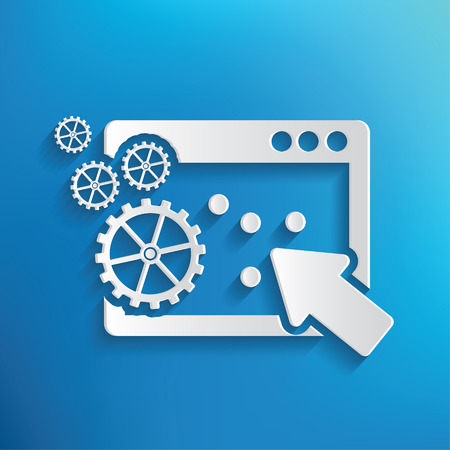feature: Application design on blue background,clean vector