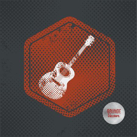 strumming: Guitar,stamp design on old dark background,grunge concept,vector