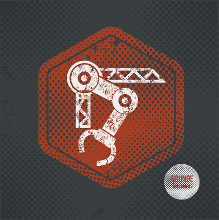 cnc: Mechatronic,stamp design on old dark background,grunge concept,vector