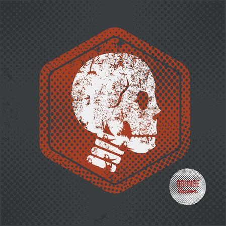 vector skull danger sign: Skull,stamp design on old dark background,grunge concept,vector