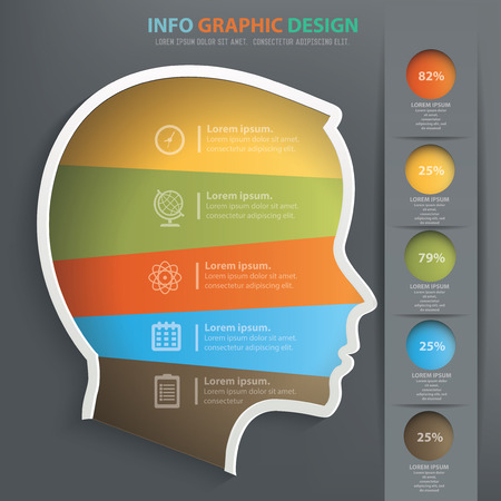 Brain info graphic design, Data concept design. Clean vector.