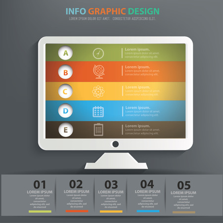 Desktop computer info graphic design, Data concept design. Clean vector.