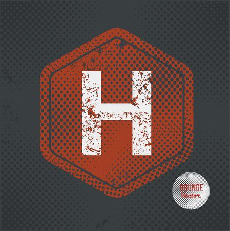old letter: H,stamp design on old dark background,grunge concept,vector