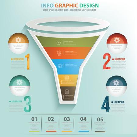 bottleneck: Filter puzzle info graphic design,clean vector Illustration