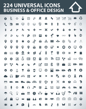 224 Universal icons,Business and office icons,clean vector