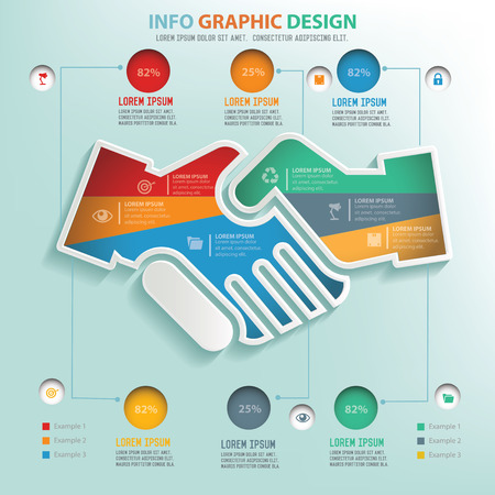 friend chart: Shake hand puzzle info graphic design,clean vector Illustration