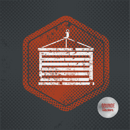 dockyard: Container,stamp design on old dark background,grunge concept,vector